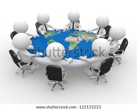 3d people - men , person at a conference table with world map. Peace. Elements of this image furnished by NASA. - stock photo