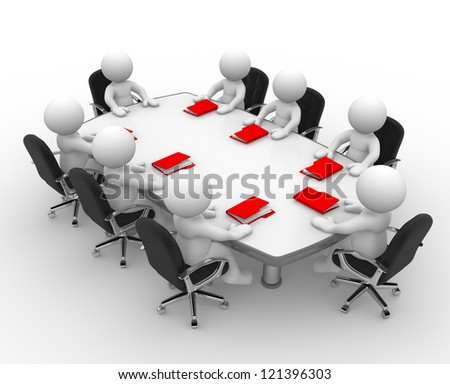 3d people - men, person at conference table and a folders. Business meeting - stock photo