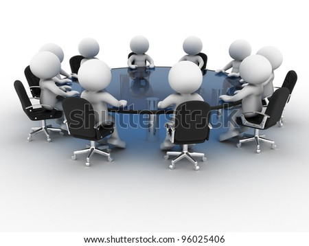 3d people - men, person at conference table . Partnership - stock photo