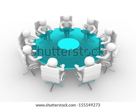 3d people - men, person at conference table. Teamwork  - stock photo