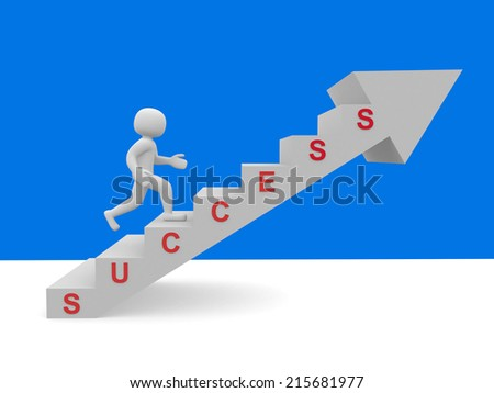 3d people - men, person climbing stairs and word SUCCESS - 3d render illustration  - stock photo