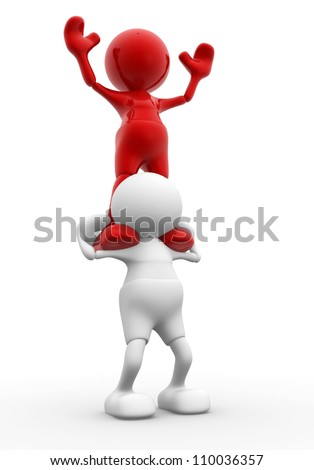 3d people - men, person  giving shoulder ride - stock photo