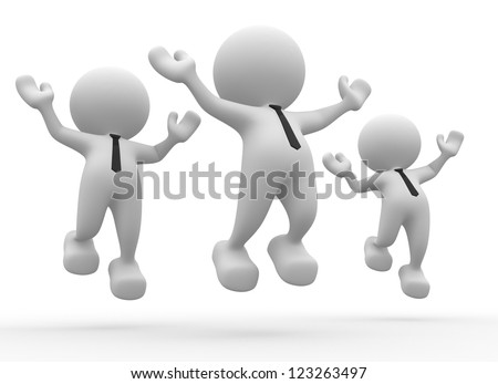 3d people - men, person happy jumping for the success. - stock photo