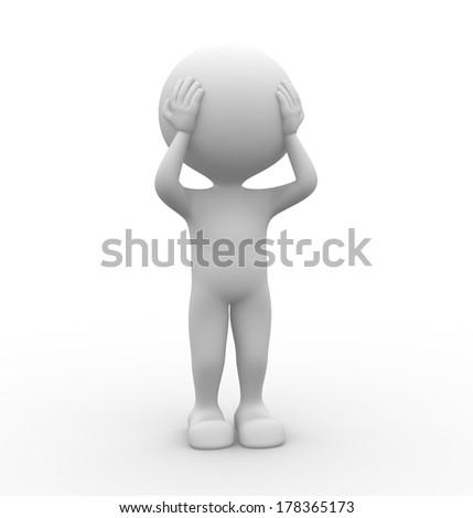 3d people - men, person- head pain - stock photo
