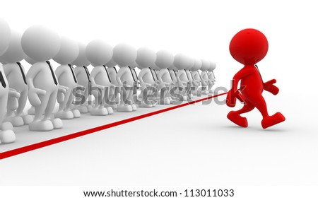 3d people - men, person in group. Business challenge.  Leadership and team - stock photo