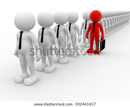 3d people - men, person in row. Leadership and team. - stock photo