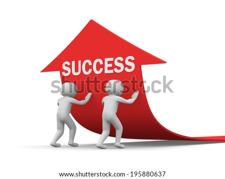 3d people - men, person pushing red arrow. Concept of SUCCESS. 3d render - stock photo