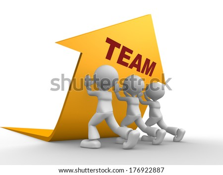 3d people - men, person pushing yellow arrow. Concept of team - stock photo