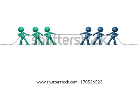 3d people - men, person rope pulling. Clipping path included  - stock photo