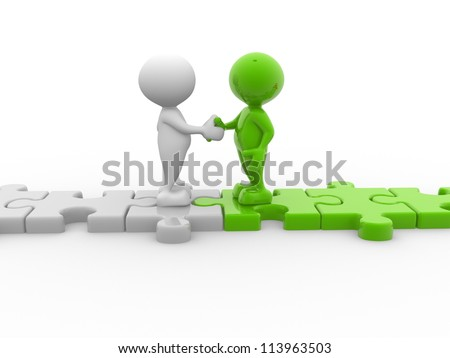 3d people - men, person shaking hands on puzzle pieces. The concept of business partners - stock photo
