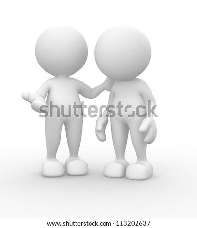3d people - men, person talking. Concept of dialogue, communication - stock photo