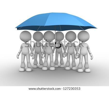3d people - men, person under a blue umbrella. - stock photo
