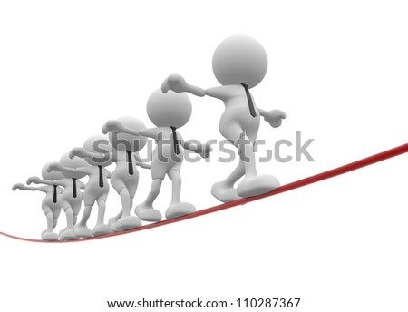 3d people - men, person walking on the wire. Aerobatics - stock photo