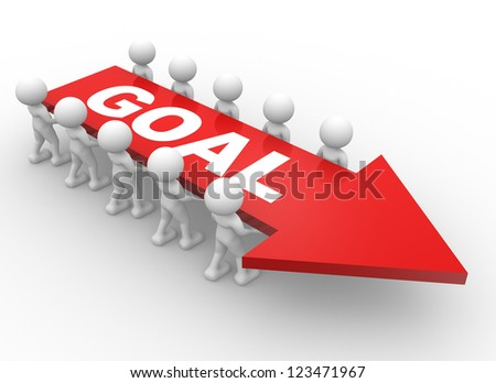 """3d people - men, person with a arrow and text """" goal """". Businessman. Teamwork. - stock photo"""