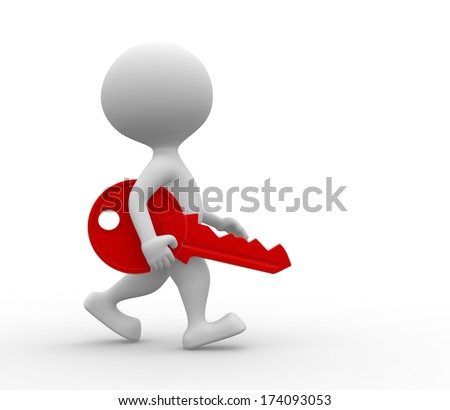 3d people - men, person with a red key - stock photo