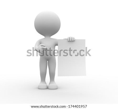 3d people - men, person with a white paper - stock photo