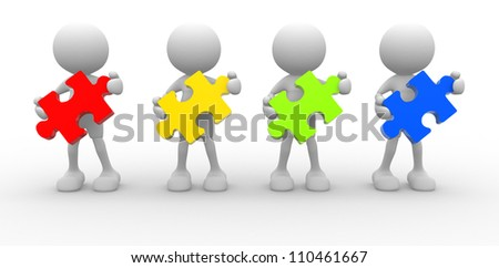 3d people - men, person with  pieces of puzzle. - stock photo