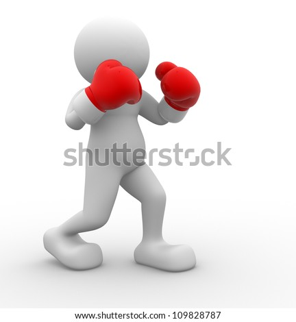 3d people - men , person with red boxing gloves. Boxer - stock photo
