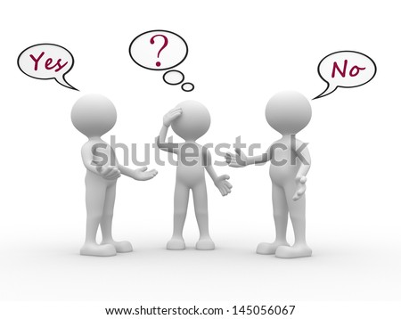 3d people - men, person with speech bubbles and text yes and no. Confused - stock photo