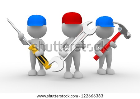 3d people - men, person with the tools in the hands. Wrench, hammer and screwdriver - stock photo
