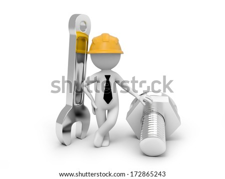 3d people monitoring lovers with a spanner, - stock photo