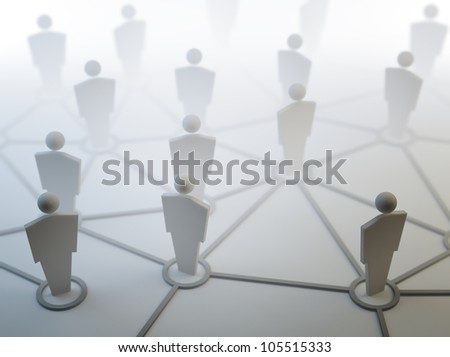 3D people network connections concept illustration - stock photo