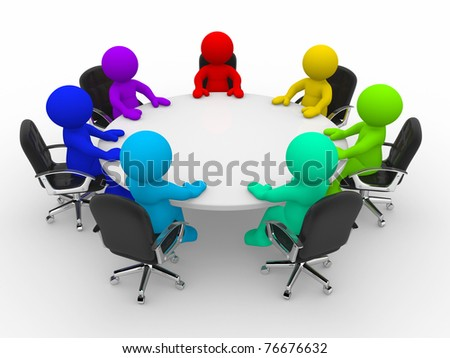 3d people of different nationalities at the conference table - stock photo