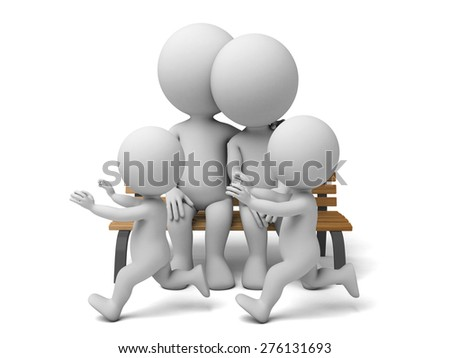 3d people, parents with children. 3d image. Isolated white background - stock photo