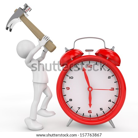 3d people, person with hammer and a alarm clock. 3d render - stock photo