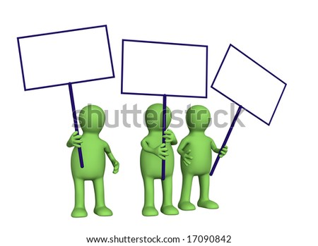3d people - puppets protesting with posters on demonstration - stock photo