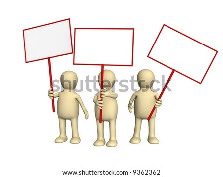 3d people - puppets protesting with posters on demonstration. Objects over white - stock photo