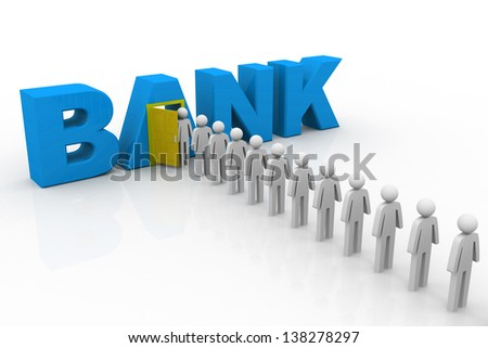 3D people queuing at the bank - stock photo