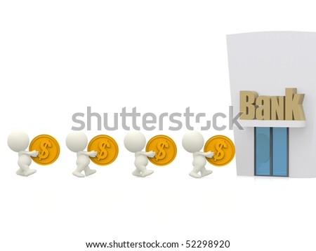 3D people queuing at the bank carrying coins - isolated over a white background - stock photo