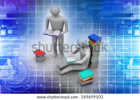 3D people reading book, education concept  - stock photo