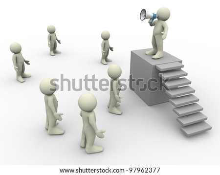 3d people - render of man speaking in front of crowd - stock photo