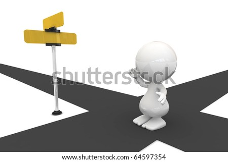 3D people rendering - taking a decision with the help of a signpost - stock photo