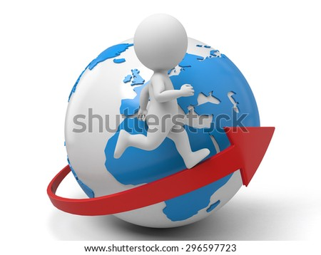 3d people running on an arrow around world. 3d image. Isolated white background - stock photo