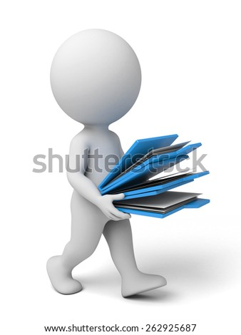 3d people running with some folders. 3d image. Isolated white background - stock photo