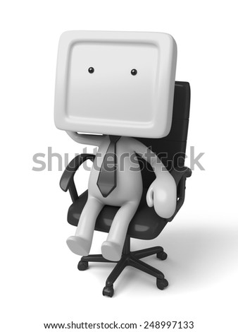 3d people sitting in   chair thinking. 3d image. Isolated white background - stock photo