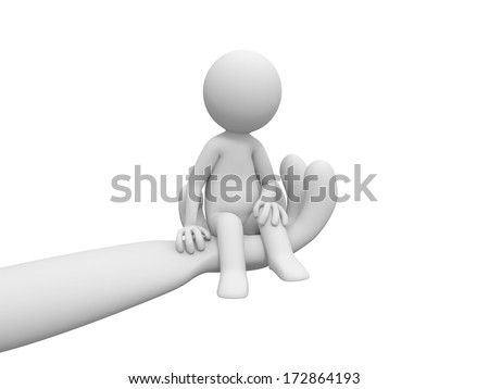 3d people sitting on abig hand - stock photo