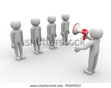 3d people speaking at megaphone in front of the crowd. 3d render illustration - stock photo