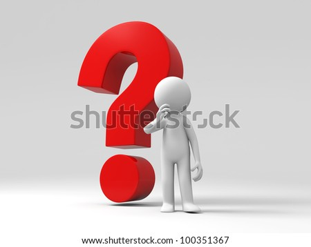 3d people stand in front question mark - stock photo