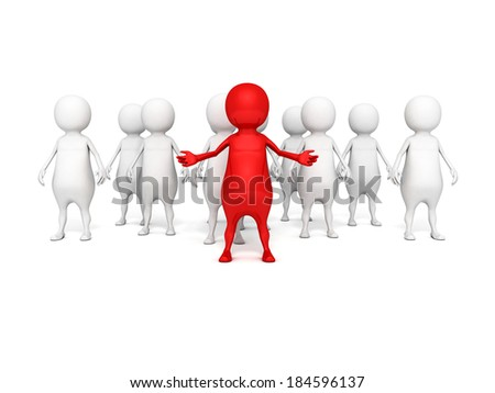 3d people. successful leadership and teamwork concept 3d render illustration - stock photo