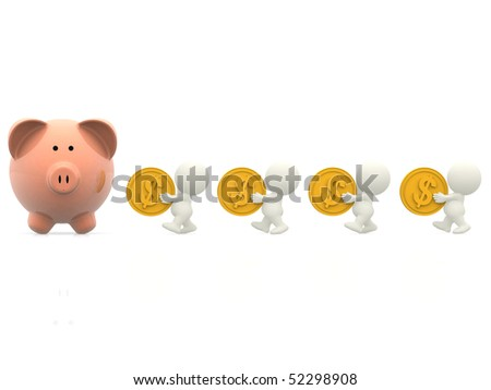 3D people taking money to a piggybank - isolated over a white background - stock photo