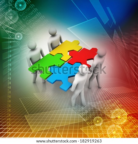 3d people - team with the puzzles in hands - stock photo