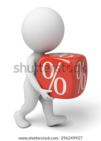 3d people with a discount cube. 3d image. Isolated white background. - stock photo