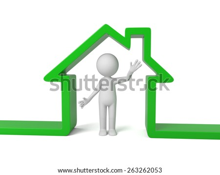 3d people with a green house. 3d image. Isolated white background - stock photo
