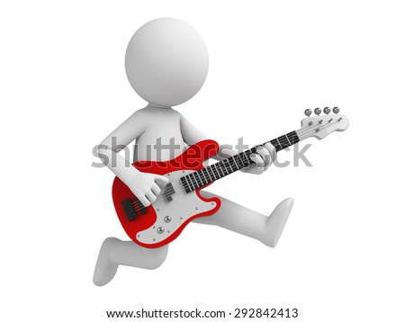 3d people with a  guitar. 3d image. Isolated white background. - stock photo
