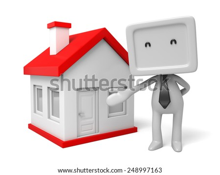 3d people with a house. 3d image. Isolated white background - stock photo