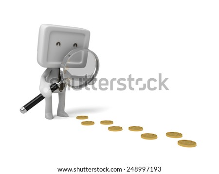 3d people with a magnifier. find some coins. 3d image. Isolated white background - stock photo